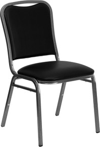 Black Vinyl Stacking Banquet Chair with Silver Vein Frame