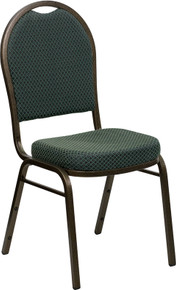 Green Patterned Fabric Dome Back Stacking Banquet Chair with Gold Vein Frame