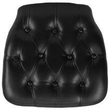Hard Black Tufted Vinyl Chiavari Chair Cushion for Crystal / Resin Chiavari Chairs