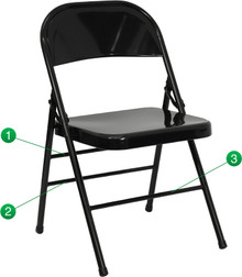Triple Braced and Double Hinged Black Metal Folding Chair