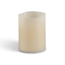 "Flameless 4""H x 3"" Wavy Bisque Pillar Candles"