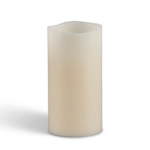 "Flameless 6""H x 3"" Wavy Bisque Pillar Candles"