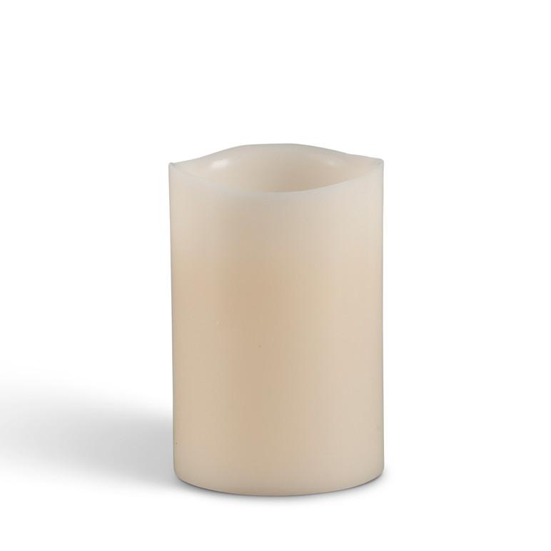 """Flameless 6""""H x 4"""" Wavy Bisque Pillar Candles"""