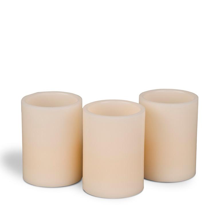 Flameless Straight Edge Bisque Pillar Candles