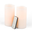 Wavy Bisque Flameless Pillars with Remote