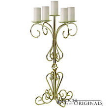 36'' Tall Old World Tabletop Candelabra - Pillar Style