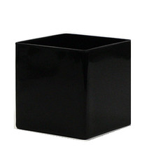 "5"" Black Cube Vase - 12 Pieces"
