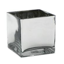 """5"""" Silver Cube Vase - 12 Pieces"""