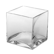 "8"" Clear Cube Vase - 4 Pieces"