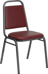 Burgundy Vinyl Stacking Banquet Chair with Trapezoidal Back with Silver Vein Frame