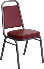 Burgundy Vinyl THICK CUSHION Stacking Banquet Chair with Silver Vein Frame