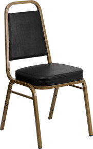 Black Vinyl THICK CUSHION Stacking Banquet Chair with Gold Frame