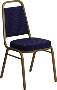 Navy Patterned Fabric THICK CUSHION Stacking Banquet Chair with Gold Frame