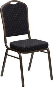 Black Patterned Fabric Crown Back Stacking Banquet Chair with Gold Frame