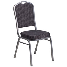 Black Patterned Fabric Crown Back Stacking Banquet Chair with Silver Vein Frame
