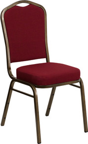 Burgundy Fabric Crown Back Stacking Banquet Chair with Gold Vein Frame