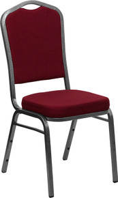 Burgundy Fabric Crown Back Stacking Banquet Chair with Silver Vein Frame