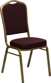 Burgundy Patterned Fabric Crown Back Stacking Banquet Chair with Gold Frame