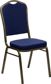 Navy Blue Speckled Fabric Crown Back Stacking Banquet Chair with Gold Vein Frame