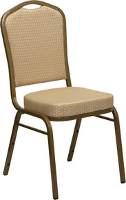 Beige Patterned Fabric Crown Back Stacking Banquet Chair with Gold Vein Frame