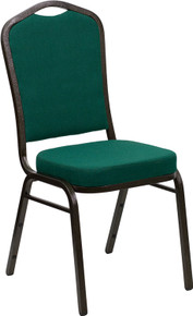 Green Fabric Crown Back Stacking Banquet Chair with Gold Vein Frame