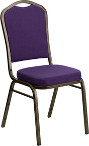 Purple Fabric Crown Back Stacking Banquet Chair with Gold Vein Frame
