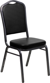 Black Vinyl Crown Back Stacking Banquet Chair with Silver Vein Frame