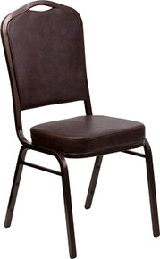 Brown Vinyl Crown Back Stacking Banquet Chair with Copper Vein Frame