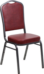 Burgundy Vinyl Crown Back Stacking Banquet Chair with Silver Vein Frame