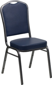 Navy Vinyl Crown Back Stacking Banquet Chair with Silver Vein Frame