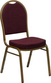Burgundy Patterned Fabric Dome Back Stacking Banquet Chair with Gold Frame