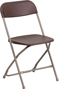 Brown Plastic Premium Folding Chair - 800 lb. Capacity