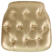 Hard Gold Tufted Vinyl Chiavari Chair Cushion for Crystal / Resin Chiavari Chairs