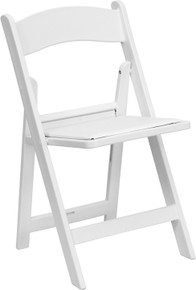White Resin Folding Chair with Black Vinyl Padded Seat - 1000 lb. Capacity