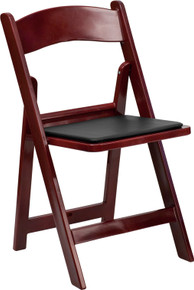 Red Mahogany Resin Folding Chair with Black Vinyl Padded Seat - 1000 lb. Capacity