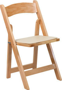 Natural Wood Folding Chair with Padded Vinyl Seat