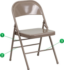 Triple Braced and Double Hinged Beige Metal Folding Chair