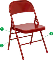 Triple Braced and Double Hinged Red Metal Folding Chair