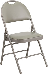Extra Large Ultra-Premium Triple Braced Gray Vinyl Metal Folding Chair with Easy-Carry Handle
