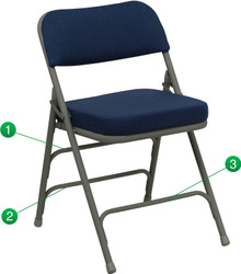 Premium Curved Triple Braced and Quad Hinged Navy Fabric Upholstered Metal Folding Chair