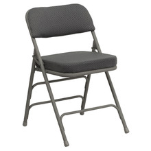 Premium Curved Triple Braced and Quad Hinged Gray Fabric Upholstered Metal Folding Chair