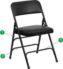 Curved Triple Braced and Quad Hinged Black Vinyl Upholstered Metal Folding Chair