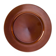 "Case of 24 Copper Lacquer 13"" Round Charger Plates"