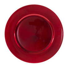 "Case of 24 Red Lacquer 13"" Round Red Charger Plates"