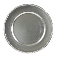 "Case of 24 Silver Lacquer 13"" Round Beaded Charger Plates"