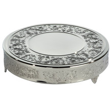 "18"" Round Nickel Plated Baroque Cake Plateau"