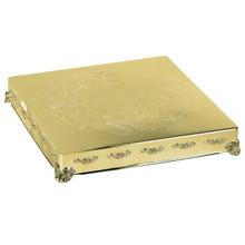 """22"""" Gold Finish Square Cake Plateau"""