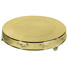 "22"" Gold Finish Round Cake Plateau"