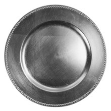 Case of 24 Silver Round Beaded Charger Plates