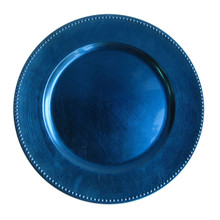 Case of 24 Blue Round Beaded Charger Plates